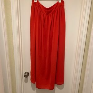 Banana Republic Flowy Orange Red Maxi Skirt